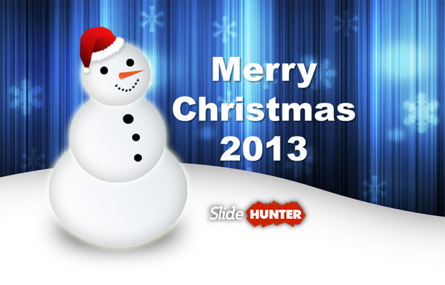 Merry Christmas Greeting Card with Snowman picture and PowerPoint background