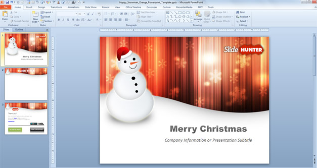 Merry Christmas PowerPoint template with Happy Snowman picture