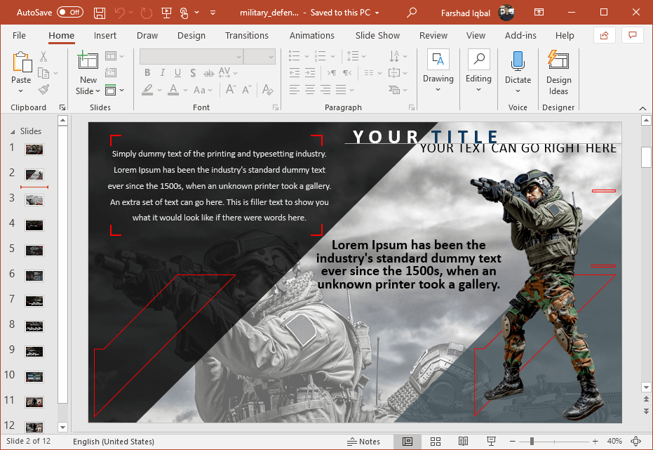 military defense powerpoint template