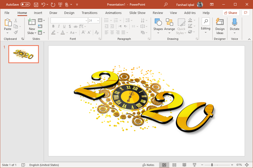 new year clock powerpoint clipart