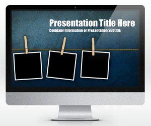 Widescreen Peg Grunge PowerPoint Template (16:9)