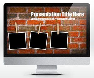 Widescreen Brick Wall PowerPoint Template with Photo