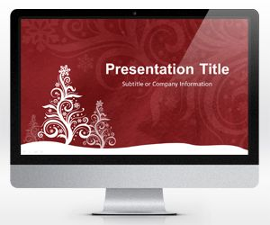 Widescreen Pine Silhouette Red PowerPoint Template (16:9)