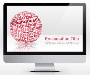 Widescreen Pink Sphere Internet PowerPoint Template (16:9)