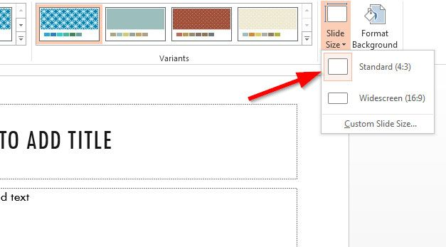 How to Change Slide Size in PowerPoint 2013 to 4:3 Aspect Ratio