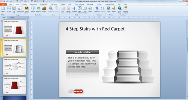 4 Step Stairs Diagram for PowerPoint