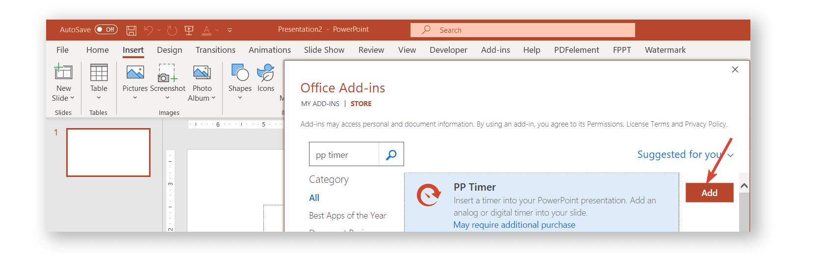 Add PPTimer from PowerPoint using Office Add Ins