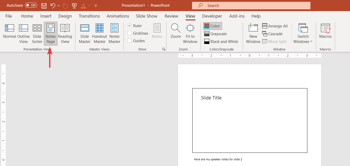 Printing Speaker Notes in PowerPoint via Notes view