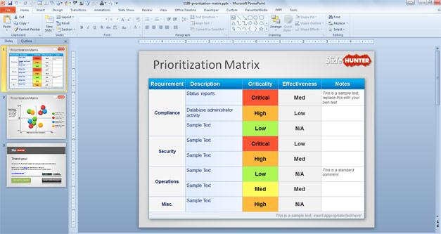 Free Prioritization Matrix PowerPoint Template