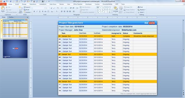 Plantilla PowerPoint con Planilla para Gestión de Proyectos