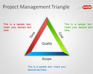 Project Management Triangle Diagram for PowerPoint