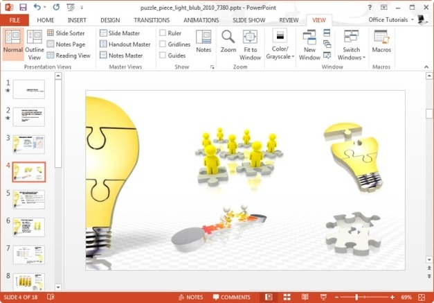 puzzle piece light bulb powerpoint template
