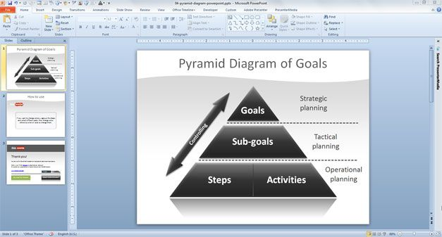 Example of black pyramid shape for PowerPoint presentations - Free Pyramid PowerPoint template