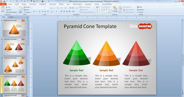 Plantilla PowerPoint con Pirámide Cono