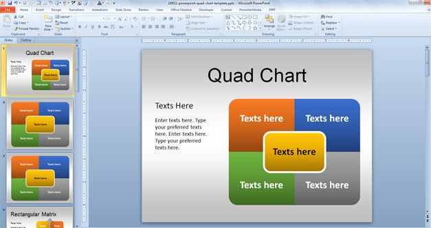 Example of Quad PowerPoint Template in the slide design