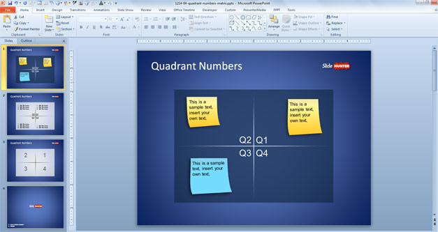 Free Quadrants in PowerPoint with numbers