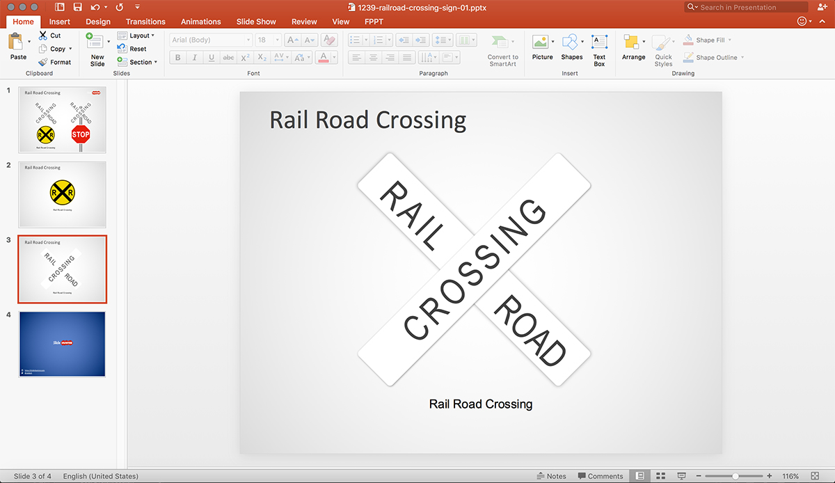 Railroad Crossing Shapes for PowerPoint