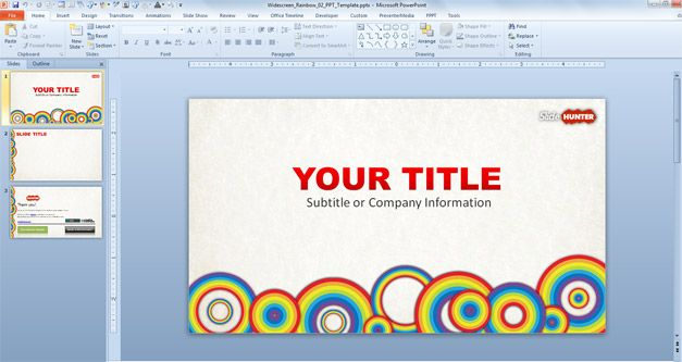 PowerPoint template with circles and rainbow for free (widescreen)