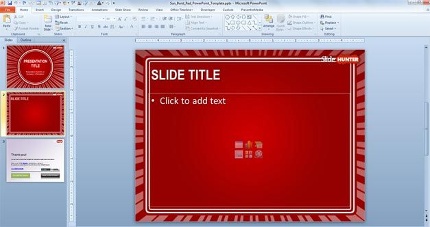 free internal slide design powerpoint red background