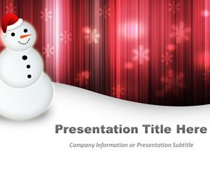 Happy Snowman Powerpoint Template with Red Background