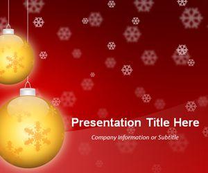 Golden Balls Red PowerPoint Template