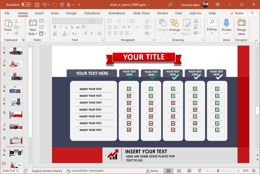 report checklist slide