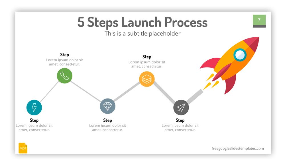 Roadmap Slide with Space Rocket Illustration