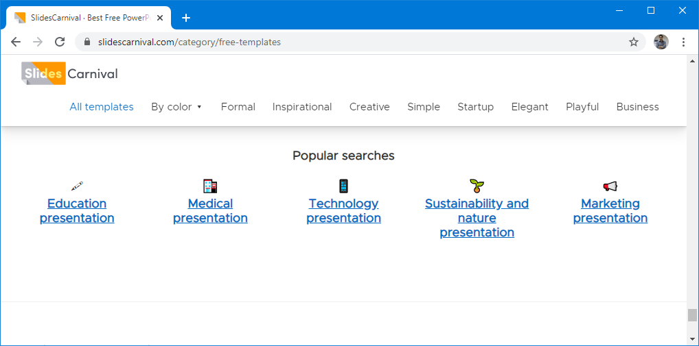 Search templates by popular searches