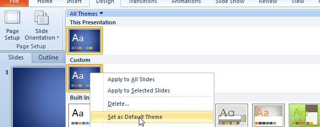 set default size theme powerpoint ppt templates
