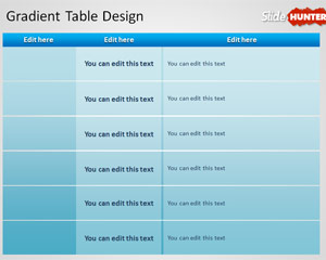 Simple Gradient Table Design Template for PowerPoint