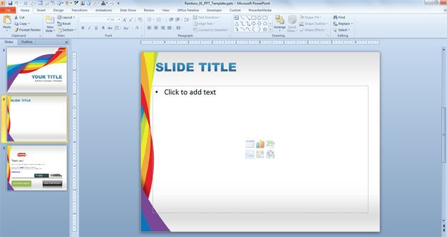 free Rainbow PowerPoint Template for Health and DNA presentations