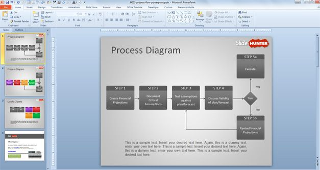 free process flow diagram for PowerPoint