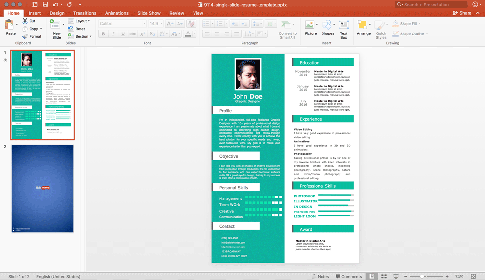 Example of a one-page Resume template for PowerPoint with an Infographic design