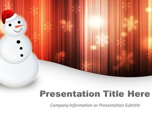 Happy Snowman Orange PowerPoint Template