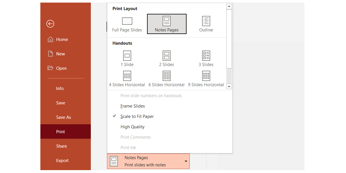 Speaker notes in PowerPoint with Notes view