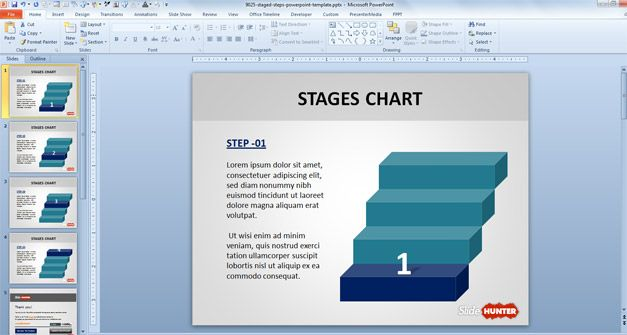 Free 3D Stair Line Stages for PowerPoint