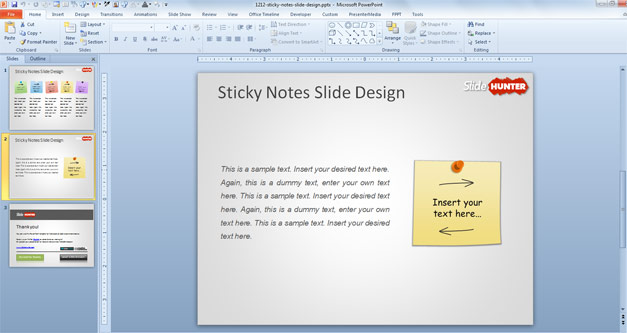 Sticky Notes PowerPoint Template with Colored Post Its