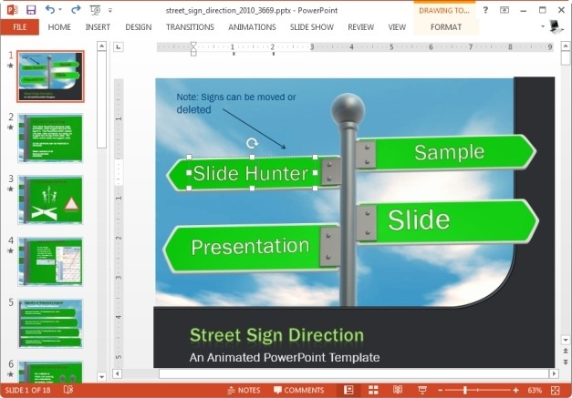 street sign animated template for powerpoint