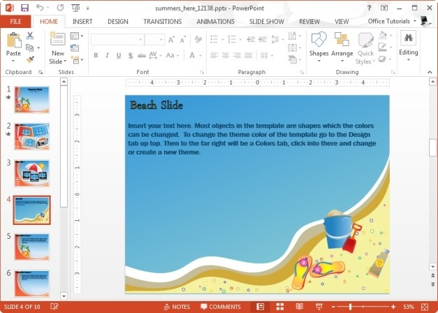 summer beach powerpoint slide