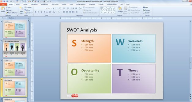 SWOT Analysis Slide Design with SWOT letters in the presentation template