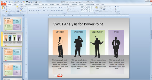 Creative SWOT Analysis Slide Design with Silhouettes and four columns