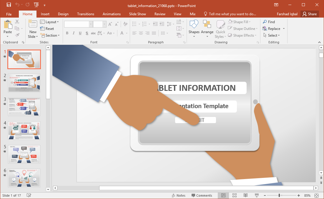 tablet information powerpoint template