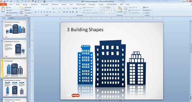 Three Office Building shapes for PowerPoint