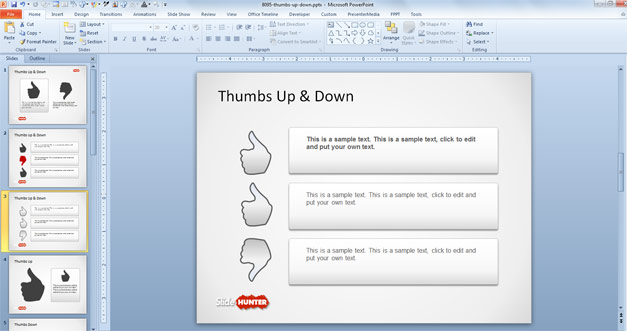 Thumbs Up & Down PowerPoint Template