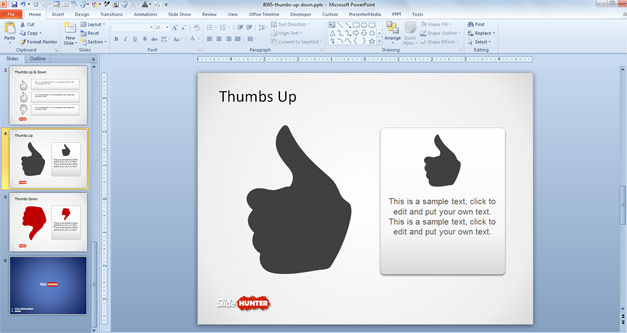 Example of Thumbs Up Slide Design