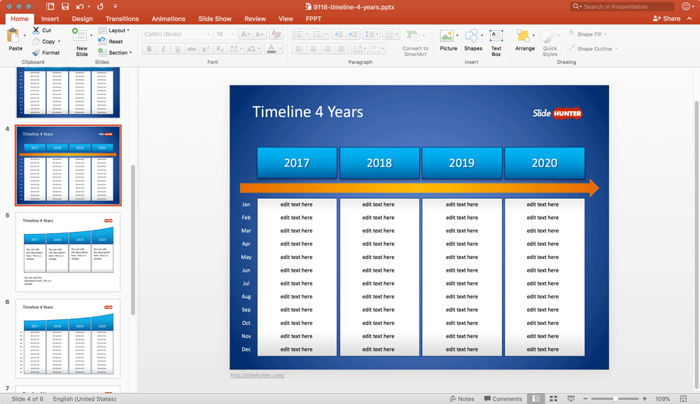 Timeline 4 Years for PowerPoint with 12 Months per Year
