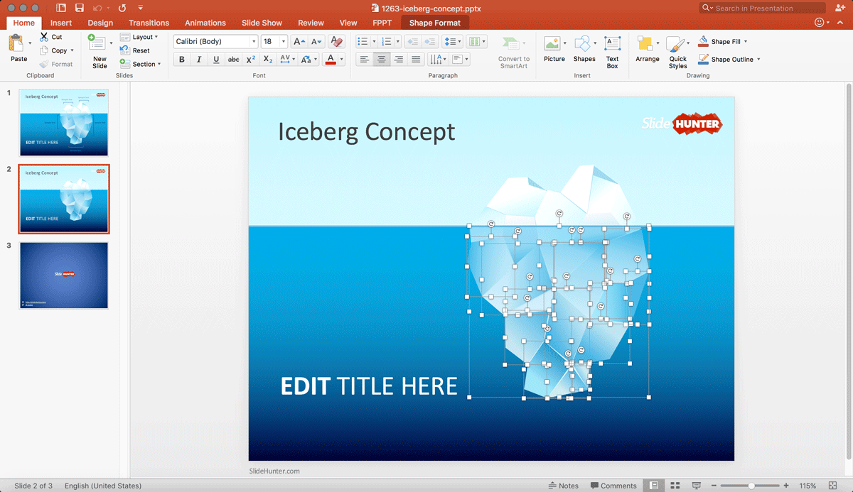 Tip of the Iceberg PowerPoint Template