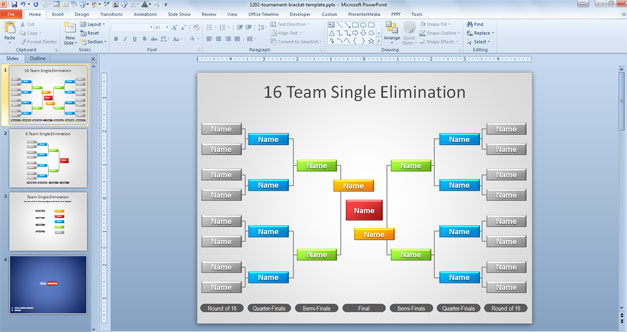 Free Tournament Brackets Template for PowerPoint