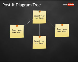 Tree Diagram Template for PowerPoint with Post-It Notes