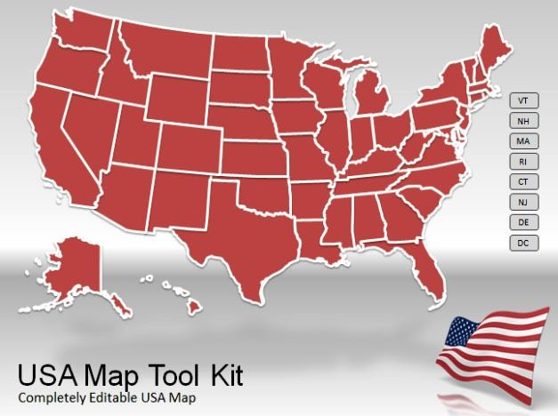 US Map template for PowerPoint with Toolkit